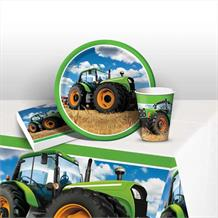 Tractor Time 8 to 48 Guest Starter Party Pack - Tablecover | Cups | Plates | Napkins