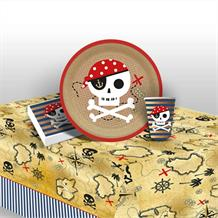 Pirate | Treasure Map Party 8 to 48 Guest Starter Party Pack - Tablecover | Cups | Plates | Napkins