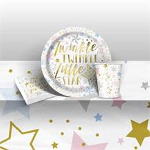 Twinkle Twinkle Little Star 1st Birthday 8 to 48 Guest Starter Party Pack - Tablecover | Cups | Plates | Napkins