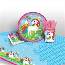 Unicorn 8 to 48 Guest Starter Party Pack - Tablecover | Cups | Plates | Napkins