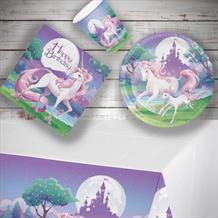 Unicorn Fantasy 8 to 48 Guest Starter Party Pack - Tablecover | Cups | Plates | Napkins
