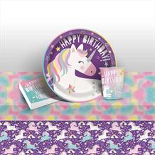 Unicorn Rainbow 8 to 48 Guest Starter Party Pack - Tablecover | Cups | Plates | Napkins