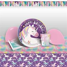 Unicorn Rainbow 8 to 48 Guest Premium Party Pack - Tableware | Balloons | Decoration