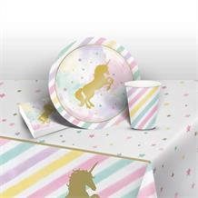 Unicorn Sparkle Party 8 to 48 Guest Starter Party Pack - Tablecover | Cups | Plates | Napkins