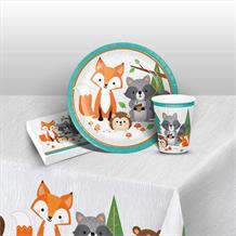 Wild Woodland Animals 8 to 48 Guest Starter Party Pack - Tablecover | Cups | Plates | Napkins