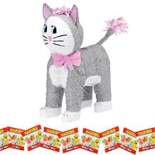 Grey Cat Sweet Filled Pinata Party Kit