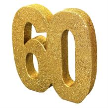 Gold Glitter Number | Age 60 Table Centrepiece | Decoration