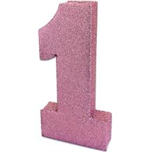 Light Pink Glitter Number | Age 1 Table Centrepiece | Decoration