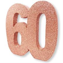 Rose Gold Glitter Number | Age 60 Table Centrepiece | Decoration