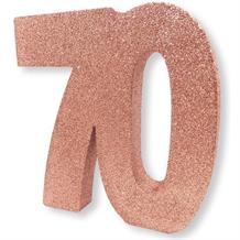 Rose Gold Glitter Number | Age 70 Table Centrepiece | Decoration