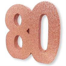Rose Gold Glitter Number | Age 80 Table Centrepiece | Decoration