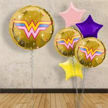 "Inflated with Helium Wonder Woman | Gold Symbol 18"" Foil Balloon"