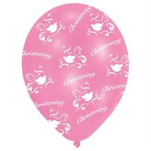 Pink Happy Christening Party Latex Balloons