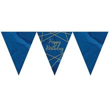 Navy Blue and Gold Geode Happy Birthday Party Paper Flag Bunting | Banner