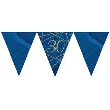 Navy Blue & Gold Geode 30th Birthday Party Paper Flag Bunting | Banner