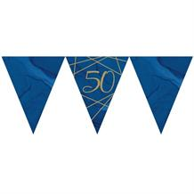 Navy Blue & Gold Geode 50th Birthday Party Paper Flag Bunting | Banner