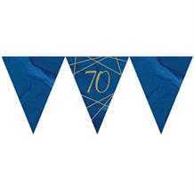 Navy Blue & Gold Geode 70th Birthday Party Paper Flag Bunting | Banner