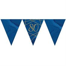 Navy Blue & Gold Geode 80th Birthday Party Paper Flag Bunting | Banner