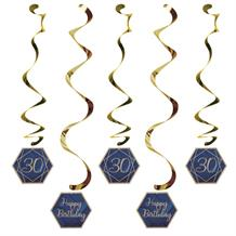 Navy Blue & Gold Geode 30th Birthday Party Hanging Decorations
