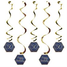 Navy Blue & Gold Geode 50th Birthday Party Hanging Decorations