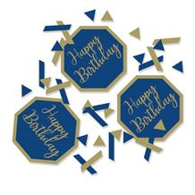 Navy Blue & Gold Geode Happy Birthday Party Confetti
