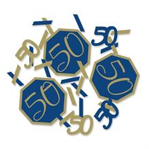 Navy Blue & Gold Geode 50th Birthday Party Confetti