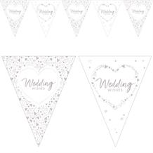 Wedding Wishes Hearts Flag Banner | Bunting | Decoration