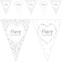Happy Engagement Hearts Flag Banner | Bunting | Decoration