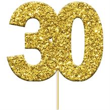 Gold Glittering 30th Birthday Cake Topper 3.8 x 4cm (12 Pack)
