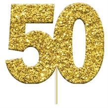 Gold 50 Numeral Glitter Cupcake Pick Toppers