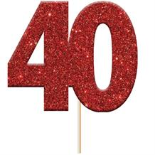 Red 40 Numeral Glitter Cupcake Pick Toppers