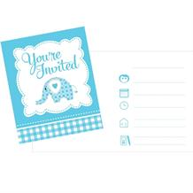 Blue Elephant Christening Party Invitations | Invites