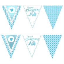 Blue Elephant Christening Flag Banner | Bunting | Decoration