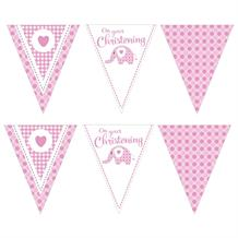 Pink Elephant Christening Party Flag Banner | Bunting | Decoration