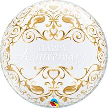 "Happy Anniversary Classic 22"" Qualatex Bubble Party Balloon"