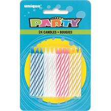 Birthday Party Multi-Coloured Striped Cake Candles | Decorations