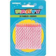 Birthday Party Pink Striped Cake Candles | Decorations
