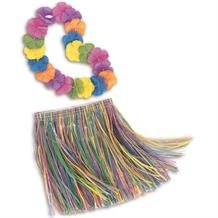 Childrens Hula Hawaiian Skirt and Lei Set