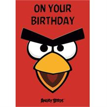 Angry Birds Red On Your Birthday Greeting Card