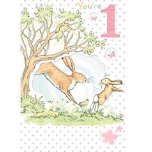 Guess How Much I Love You 1st Birthday Girl Greeting Card