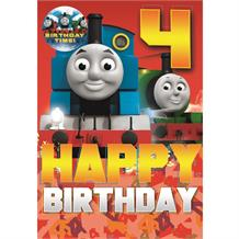 Thomas the Tank Engine Happy 4th Birthday Card with Badge