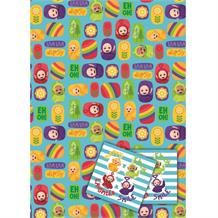 Teletubbies Gift Wrap -  2 Sheets, 2 Gift Tags