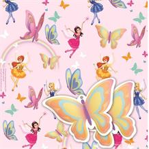 Fairies | Butterflies Gift Wrap -  2 Sheets, 2 Gift Tags