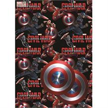 Captain America Gift Wrap -  2 Sheets, 2 Gift Tags