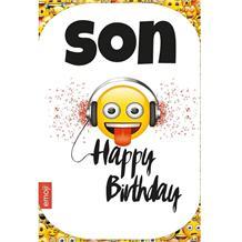 Emoji Son Happy Birthday Greeting Card