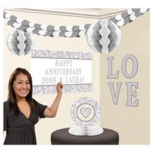 Silver Wedding Party Decoration Kit | Garland | Tissue Fans