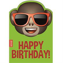 Emoji Sunglasses Monkey Happy Birthday Greeting Card