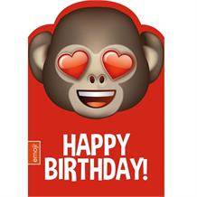 Emoji Heart Monkey Happy Birthday Greeting Card