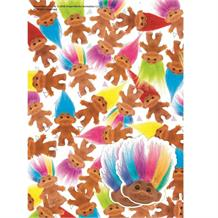 Trolls Retro Gift Wrap -  2 Sheets, 2 Gift Tags