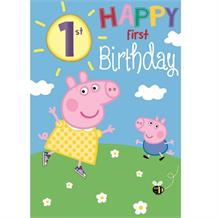 Peppa Pig 1st Birthday Peppa and George Greeting Card